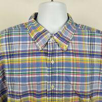 Ralph Lauren Mens Blue Yellow Red Plaid Oxford Dress Button Shirt 2XB XXL BIG