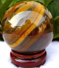 60mm Natural Tiger's Eye quartz crystal sphere ball + stand beauty