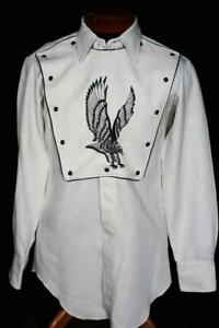 VINTAGE 1980'S-90'S HEAVY POLY EMBROIDERED SNAP FRONT WESTERN  SHIRT SIZE MEDIUM