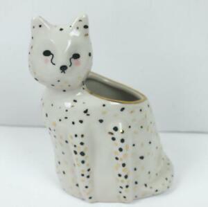 Anthropologie Gail CC Ceramics Flecked Fauna Planter Cat Cheetah Vase d6