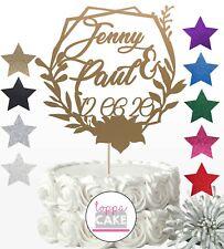 Personalised Name Wedding Plant Frame Cake Glitter Topper ANY NAME Year Decor