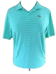 Peter Millar Seaside Wash Womans XL Mint Green Blue Striped Pullover Polo Shirt