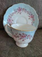 Vintage Ansley Bone China Tea Cup & Saucer Blue Pink White Floral Delicate