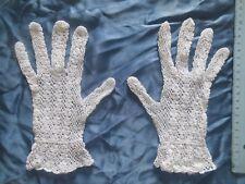 GUANTI SPOSA in cotone bianco lavorati A MANO all'uncinetto misura fino a 8 1/2