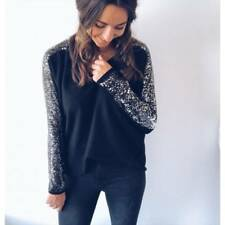 Ladies Women V-neck Winter Sequin Glitter Long Sleeve Casual Blouse Top T-shirt