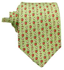 "Vineyard Vines Boys Green Bobbing For Apples Graphic Silk Tie 3.25"""