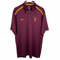 Arizona State Sun Devils Nike Polo Shirt Men's XL Maroon Yellow S/S Dri-Fit