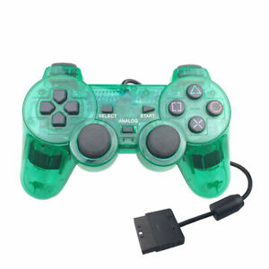 VIBRATE D-SHOCK CONTROLLER FOR PLAYSTATION 2 BRAND NEW PS1 & PS2 CLEAR GREEN