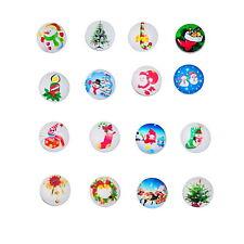 12PCs Snap Nice Buttons Fit Snap Bracelets Christmas Pattern 18mm Mixed
