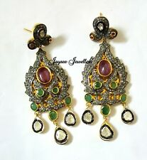 Natural Ruby,Emerald Gemstone With Polki Diamond Fancy Earring 925 Solid Silver