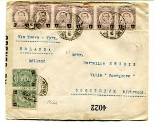 Mexico 1918 multi-stamped Censored cover to Utrecht, Holland via New York