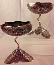A Pair of Antique Indian British Raj Silver Bowl / Cup with Twist Stem, Kashmir
