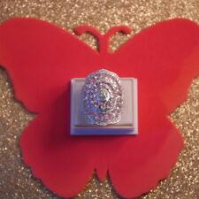 Beautiful Silver Ring Big With Pink Kunzite & White CZ 11 Gr Size P12 US Sz 8.0