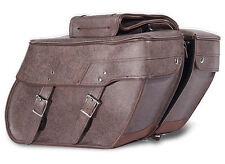 BROWN QUICK DETACH MOTORCYCLE SADDLEBAGS UNIVERSAL FIT HARLEY-HONDA-INDIAN-MORE!