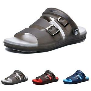 Mens Rubber Flats Open Toe Non-slip Walking Home Summer Beach Slippers Shoes B
