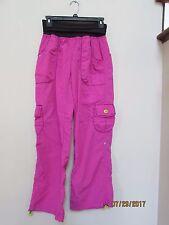 Women's size M ZUMBA fitness bright pink black Cargo Pants Nylon Dance Fun!