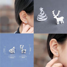 Womens Silver Plated Tiny Christmas Xmas Trees Elk Asymmetric Ear Stud Earrings