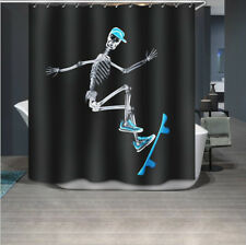 "Cool Skateboard Skull Bathroom Waterproof Polyester Shower Curtain Hooks 72x72"""