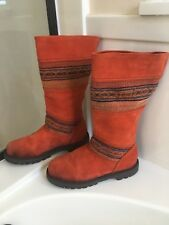 CATS Walking Machines Shoes Oil Resistant Orange Woven Boots Size 38
