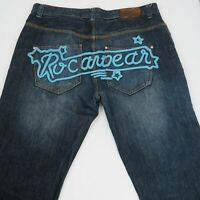 ROCAWEAR Mens Jeans Regular Fit Mid Rise Bootcut Distressed Hems Label Size W40
