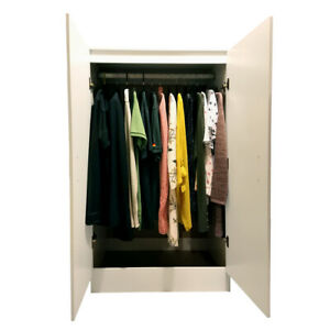 Wardrobe White 2 Door Hanging Rail Wooden Freestanding Redstone