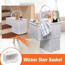 "Wicker Staircase Basket Rattan Handle Key Holder Shoe Storage Stair 16""x8""x16.5"""