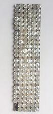 Mercerie XIXem plaque de 142 boutons couture en nacre, diam: 0,9cm, poupée