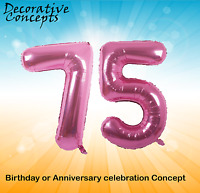 """Giant 75th Birthday Party 40"""" Foil Balloon Helium Air Decoration Age 75 PINK"""