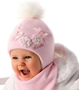 Marika Baby Mädchen Winterset Wintermütze Bommelmütze Kindermütze Halstuch Rosa