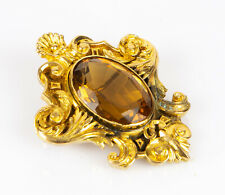 CARTIER, LONDON - 18ct on 9ct YELLOW GOLD & CITRINE ROCOCO BROOCH BADGE, W.2996