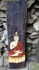 handgemalt 53 cm Holz Buddha bild Mönch Dachschindel Buddhismus Feng Shui
