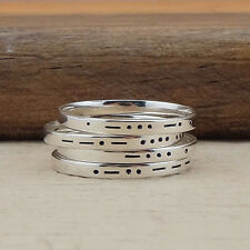 Morse Code Initial Ring - Letter Ring - Personalized Ring - Sterling Silver Ring