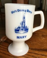 Walt Disney World Name MARY Milk Glass Pedestal Coffee Cup Mug Souvenir