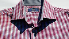 Nice RED Mens SBS NY Tailored Striped Cotton Long Sleeve Button Up Dress Shirt