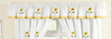 Sunflower Gingham Yellow Embroidered Pelmet to Match Kitchen Curtains 136 X 10""