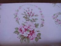 Yuwa  Michele- Garlands of Pink Roses on PINK Cretonne (Barkcloth) Yd.