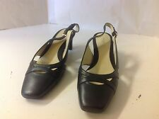 Easy Spirit CELINEA Black 7 1/2 W Low Heel Leather Shoes Square Toe New Pump