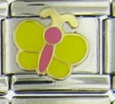 BUTTERFLY YELLOW AND PINK  WHOLESALE ITALIAN CHARM 9MM K20