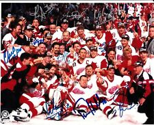 AUTO SIGNED 1996-97 RED WINGS STANLEY CUP CHAMPS TEAM 8 X 10 PHOTO 10 PLAYERS