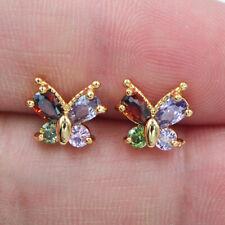 18K Yellow Gold Filled Women Colorful Topaz Zircon Cute Butterfly Stud Earrings
