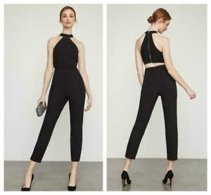 NWT BCBG Max Azria Womens Black Beaded Halter Cropped Jumpsuit SIZE 6