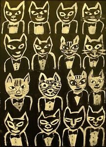 TUXEDO CATS Raw Folk Art Brut Painting Outsider T. Marie Nolan Original Vision