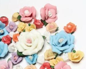 Porcelain Flowers Lot Flatback 100 pc Mix color Size DIY Craft Lot Capodimonte
