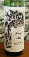 Personalised Alice In Wonderland Drink Me Wine Bottle Label Party Wedding Gift