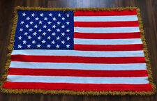 Vintage Handmade Crochet afghan Blanket throw American Flag Patriotic 1980