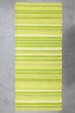 Handmade Green Runner Carpet Cotton Modern Dhurrie Killim Area Rug 55x125 CM