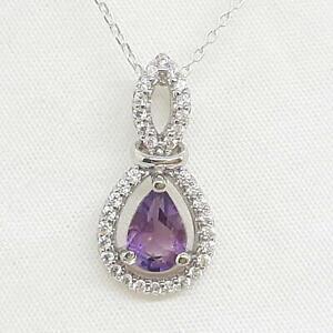 1.65ctw Amethyst & Diamond Cut White Sapphire 925 Sterling Silver Pendant
