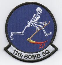 "USAF Patch 13th BOMB SQDN, Whiteman AFB, Missouri, 3.75"" X 3.25"" with hook back."