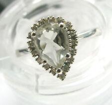 9ct White Gold Teardrop Aqua & Diamonds Cluster Ring SIze L 1/4 Us 6 Fabulous