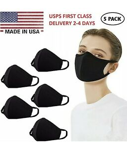 5-Pack Face Mask Mouth Cover, Washable Reusable Cotton Soft Black - Made In USA